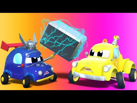 Tom the Tow Truck -  AVENGERS: GLUE PISTOL helps repairing the CITY POWER - Car Cartoon for Kids