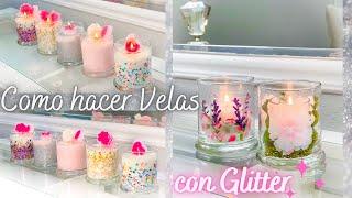 Como hacer Velas de soya con Glitter o Brillantina / Glitter Candles DIY / Manualidades