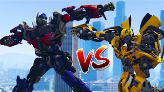 TRANSFORMERS OPTIMUS PRIME Vs BUMBLEBEE BATTLE!!! (GTA 5 Mods)(GTA 5 mods featuring TRANSFORMERS OPTIMUS PRIME Vs BUMBLEBEE BATTLE with GTA 5 Gameplay! Also check out Liquid Nitrogen vs My Face ..., 2017-02-11T23:03:04.000Z)