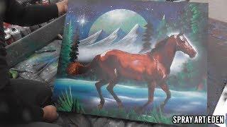 Running Horse SPRAY PAINT ART by Eden スプレーペイントアート うめちゃん