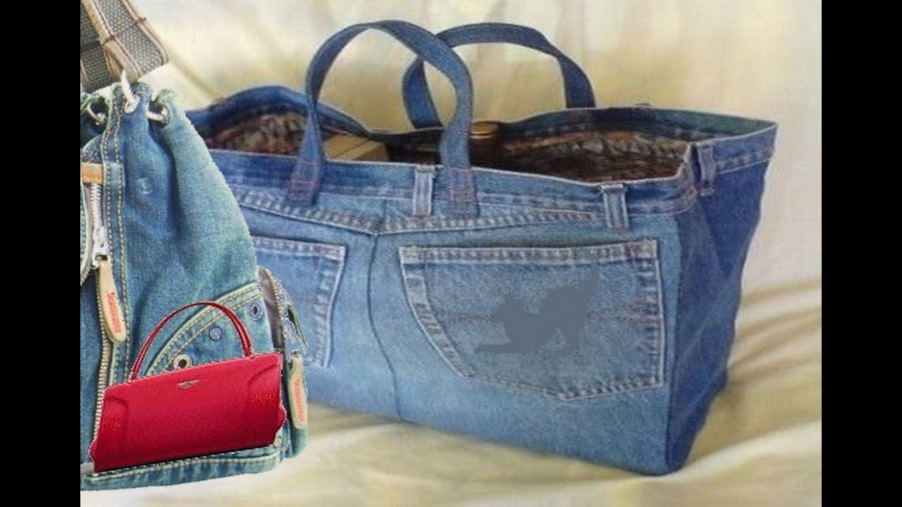 79e6e46a162 How to make a bag from Old jeans - YouTube