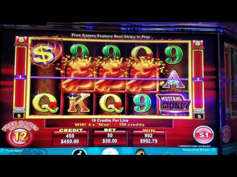 Mustang Money 2 high limit slot jackpot handpay bonus round free spins with 3 retriggers $50 max bet