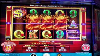 Mustang Money 2 high limit slot jackpot handpay bonus round free spins with 3 retriggers $50 max bet