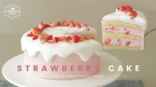 핑크핑크한🎀 동화속 비주얼♥ 딸기 생크림 케이크 만들기 : Strawberry cake Recipe : いちごのショートケーキ | Cooking ASMR