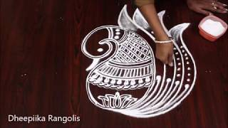 creative peacock rangoli design without dots * ramzan special rangoli * simple & easy muggulu