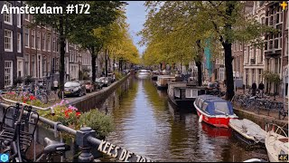 4K - Amsterdam city houses on the water - the Netherlands - 2021 #172