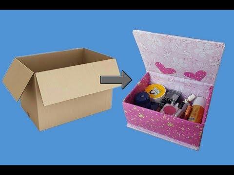 DIY || MEMBUAT BOX MAKE UP DARI KARDUS BEKAS