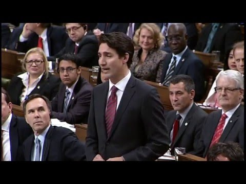 Ahmed Hussen, MP for York South-Weston, asking his first question in Parliament