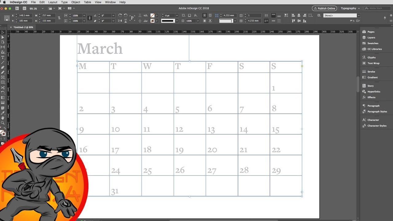 Make A Calendar Layout In Indesign Youtube