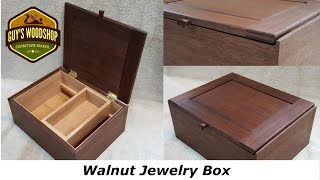 This walnut jewelry box was inspired by a box made by James Krenov. It is rift sawn walnut, and the liner and the sliding box on the