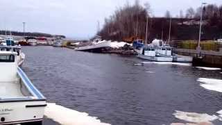 Lobster boat going into the water at Caribou wharf today
