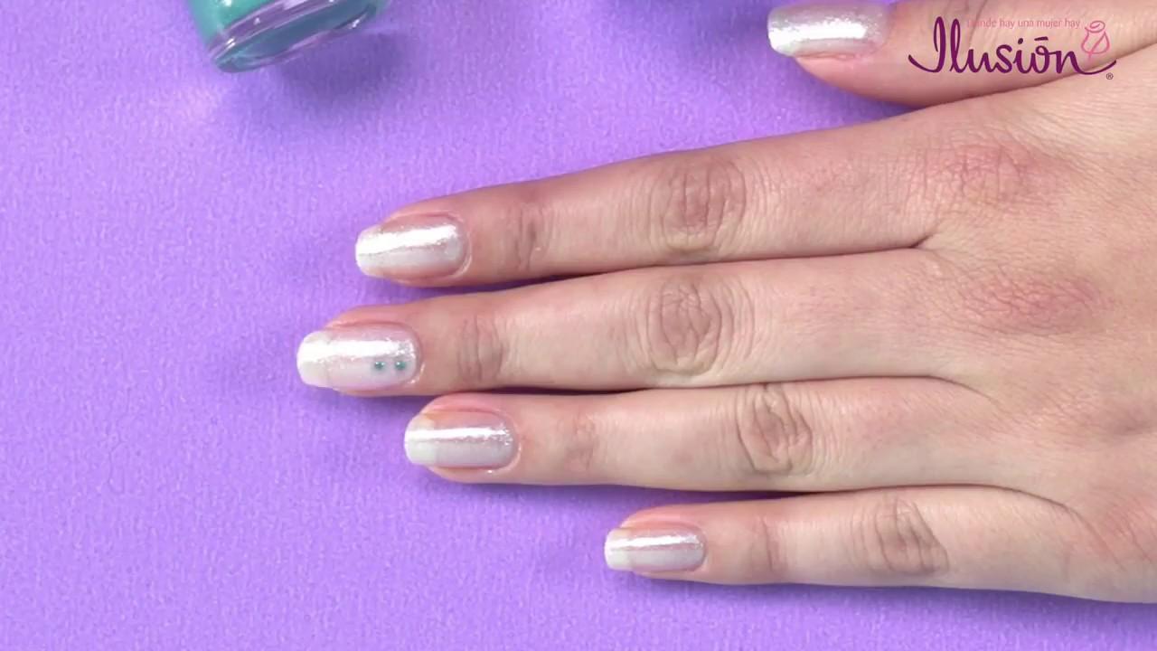 Diseño para uñas en color Menta, Blanco, Azul Sirena yt Puntos - YouTube