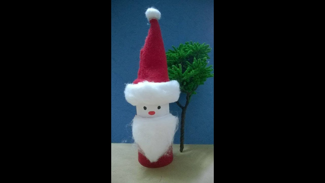 diy christmas ornaments santa claus craft using recycled toilet paper rolls - Santa Claus Craft