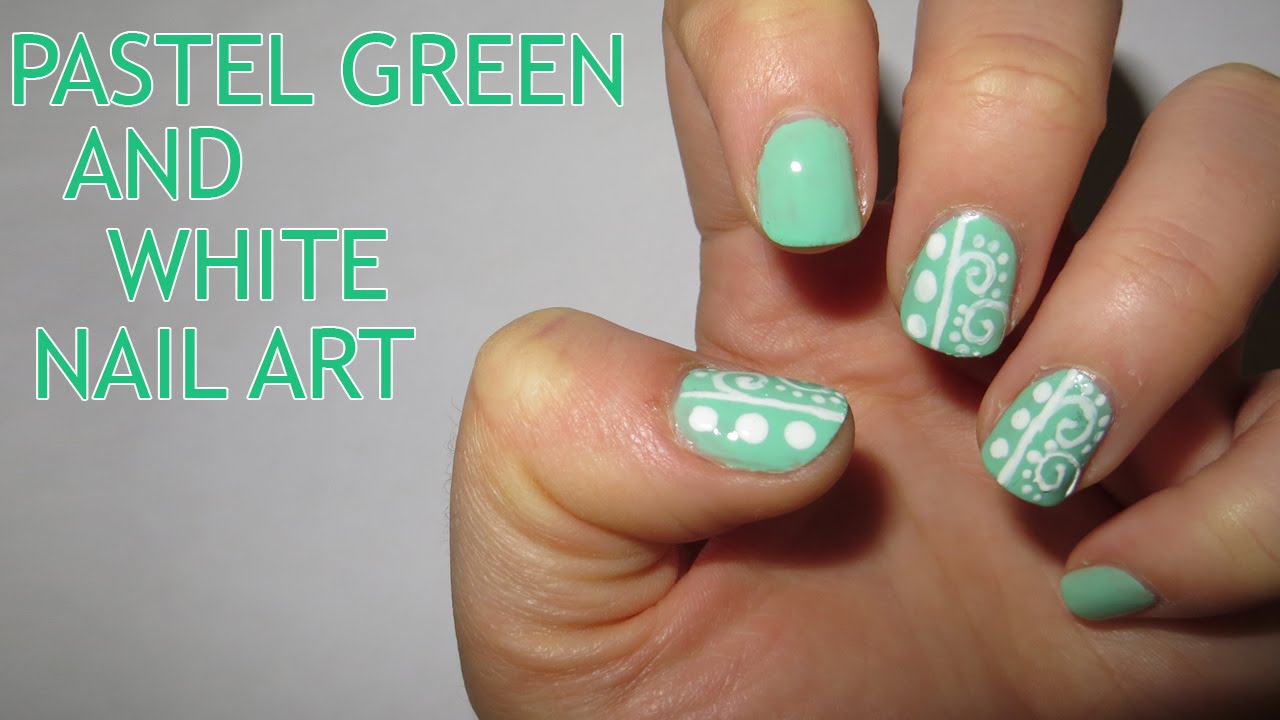 Pastel Green And White Nail Art