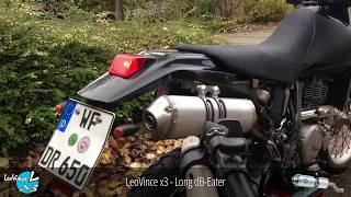 Suzuki DR 650 HQ Soundcheck with Stock, LeoVince x3 and MSR Exhaust