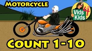 Motorcycle Number Counting 1-10 Video For Kids