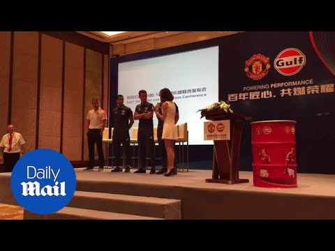 Manchester United players attempt to say goodbye in Chinese - Daily Mail