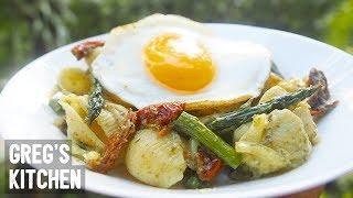 VEGETARIAN PESTO ASPARAGUS SUN DRIED TOMATO PASTA - 5 Ingredients - Greg's Kitchen