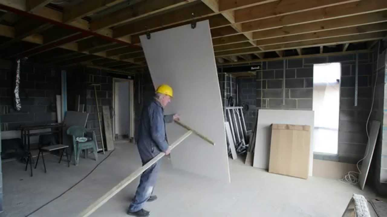The Fast And Easy Way To Install A Full Size Sheet Of Plasterboard Drywall Ceiling
