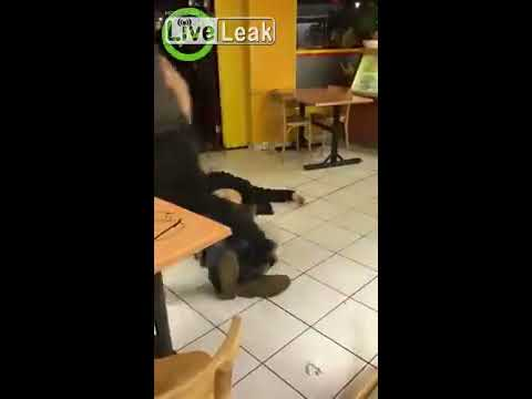 2 drunk guys harassing a woman in a Chinese snackbar. Fighting ensues.