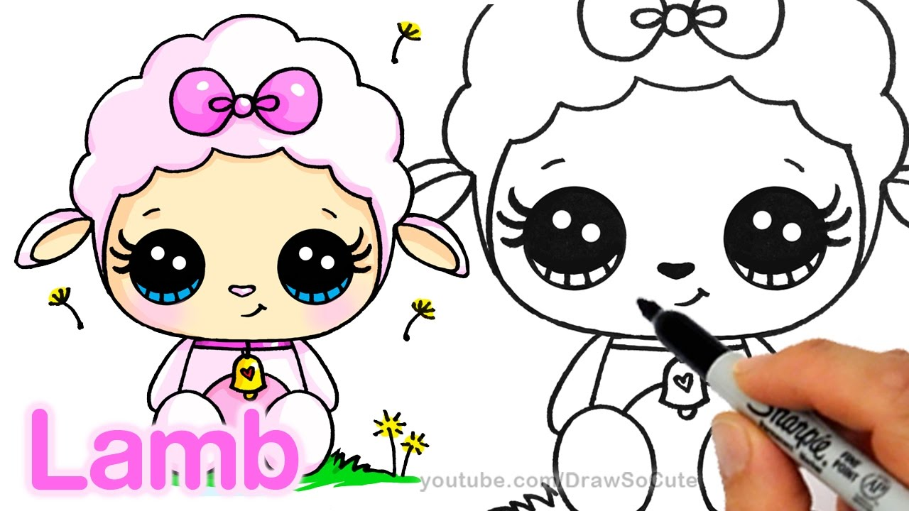 How to Draw a Cute Lamb step by step Easy - Cartoon Animal ...