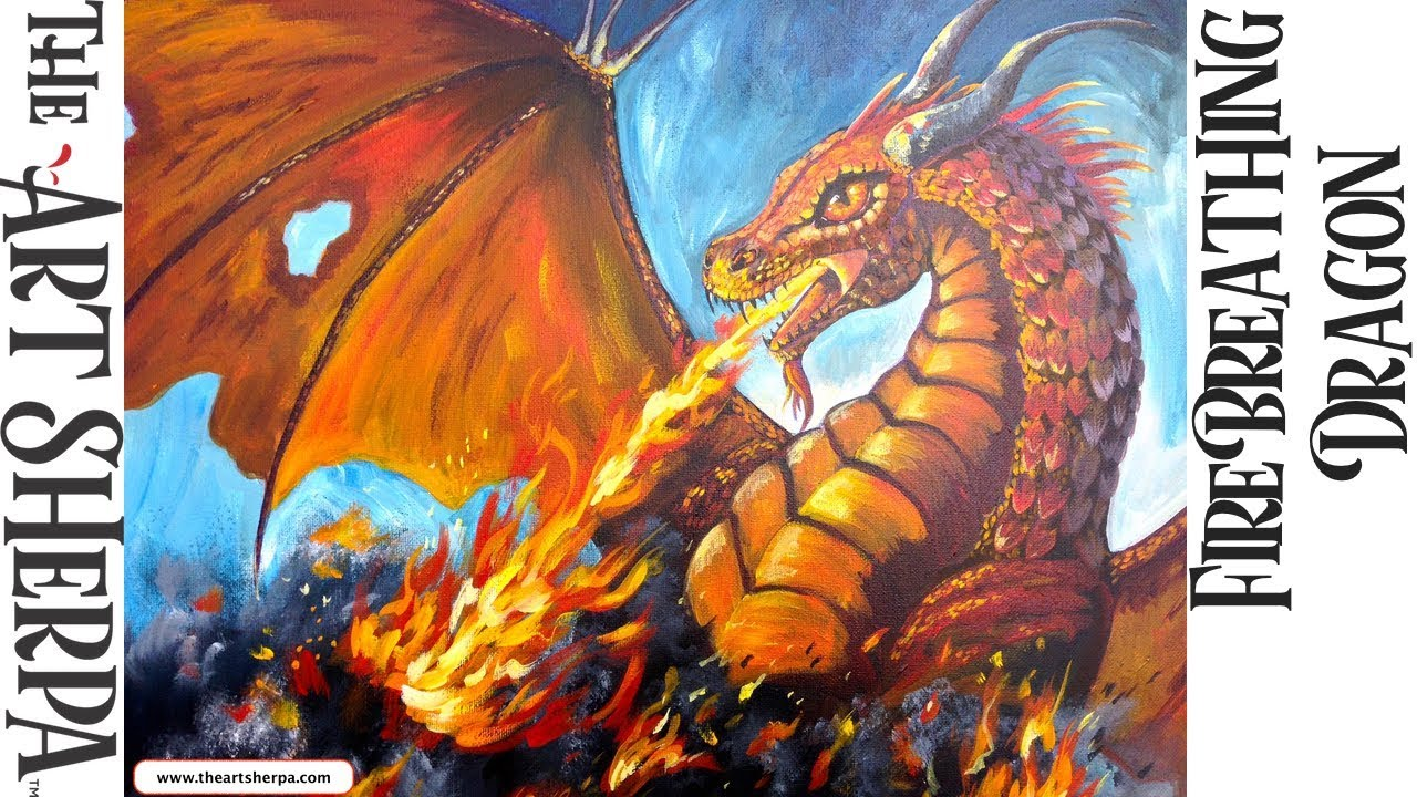 Learn To Paint Acrylic  Fire Breathing Dragon  The Art Sherpa  Youtube