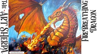 How To paint a Fire Breathing Dragon Acrylic Painting tutorial for Beginners