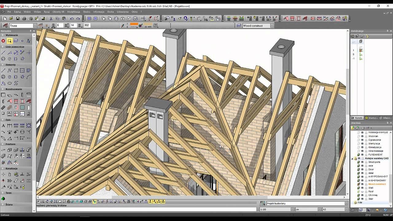 W Mega Akademia EliteCAD: Projekt domu z poddaszem użytkowym. Lekcja 10 AL04
