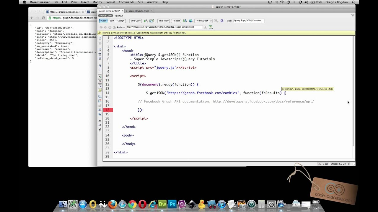 INTRO to jQUERY's  getJSON() FUNCTION - Super Simple Javascript/jQuery  Tutorials