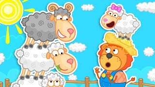 Lion Family Sheep race in the Village Cartoon for Kids