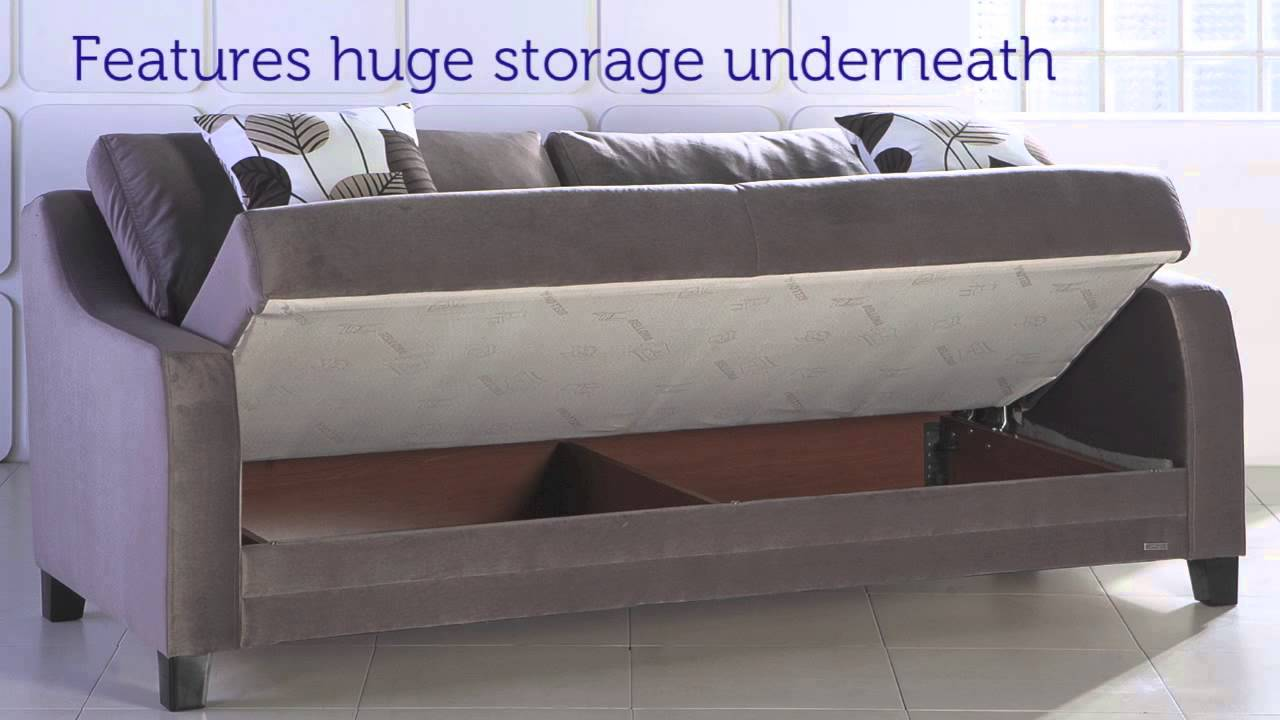 Sofa bed with storage underneath - Denver Three Seat Sofa Sleeper With Storage In Light Brown