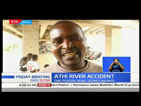 Trailer rammed into a pick-up before falling into Athi River