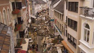 Germany floods: Drone footage captures devastation in German town
