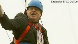 Boris Johnson gets stuck on a zip wire (long version)
