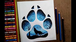 A wolf footprint moonlight wolf s call legendary painting by oil pastel colour YouTube