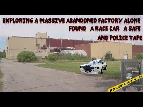 A RACE CAR, A SAFE, AND POLICE TAPE!?! EXPLORING A MASSIVE ABANDONED FACTORY ALONE!!