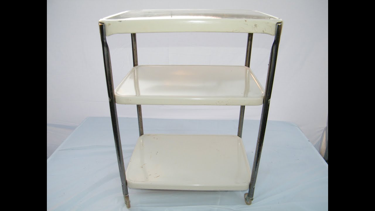 1950u0027s Vintage Mid Century Modern 3 Tier COSCO Crome Metal Serving Utility  KITCHEN CART   YouTube