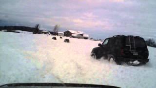 2 Tacomas and 3 Land Cruisers tearing through a foot and a half of ...