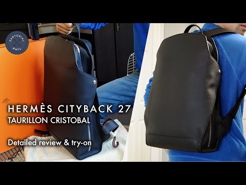 8dec60993d0e Hermès Cityback 27 men s leather backpack in taurillon cristobal  Detailed  review   try-on