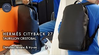 Herm?s Cityback 27 men's leather backpack in taurillon cristobal: Detailed review & try-on