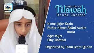 Jafer Kazia S/o Abdul Azeem Kazia   Learn Qur'an Tilawah - Online Contest, Bhatkal
