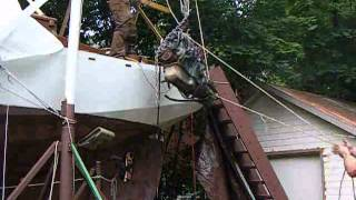 Lifting 500 Lb Engine Out Of Sailboat While On Cradle Ashore (10ft Lift From 16ft