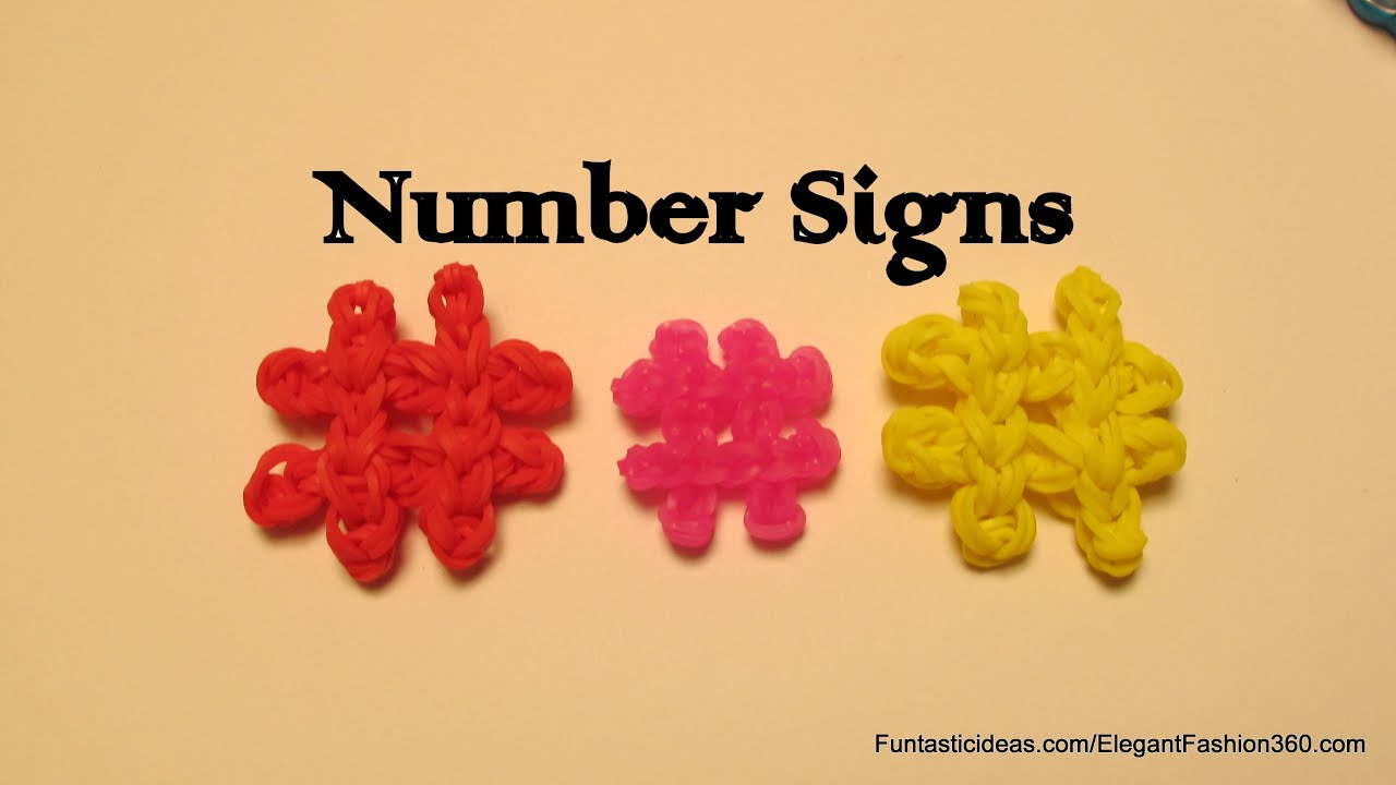 Rainbow Loom Number Sign(Hashtag) charm - How to