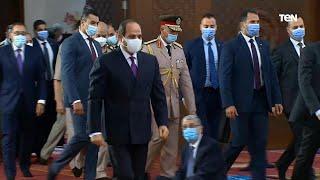 لحظة وصول الرئيس عبد الفتاح السيسي لـ أداء شعائر صلاة عيد الأضحى المبارك من مدينة العلمين الجديدة