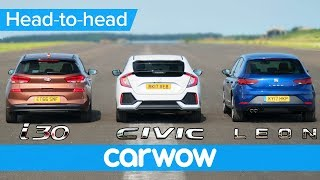 Honda Civic vs Hyundai i30 vs Seat Leon Real world DRAG RACE смотреть
