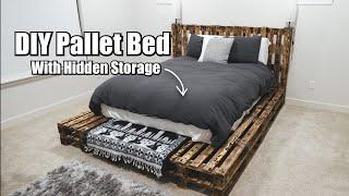 DIY Pallet Bed With Hidden Storage