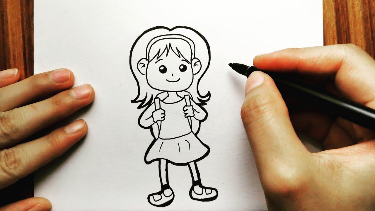 رسم بنات رسم سهل تعليم رسم بنت بقلم الرصاص بطريقة سهلة وبسيطة