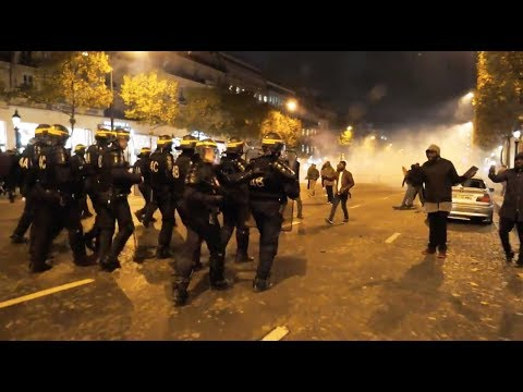 Paris, France - Police use tear gas following Libya slave auctions protest