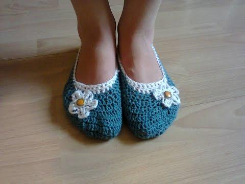 мк тапочки балетки вязаные крючком ч1 Mk Ballet Slippers Crochet