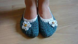 МК тапочки-балетки вязаные крючком. ч.1.  MK-ballet slippers crochet. Part 1.